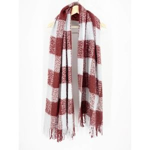 Urban Outfitters Maroon Blue Plaid Chunky Scarf